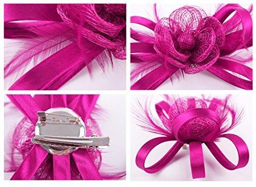 Kapmore Fascinator Pillbox Hat Barrette Cocktail Chapeaux de Mariage pour les Femmes Dark Rosy