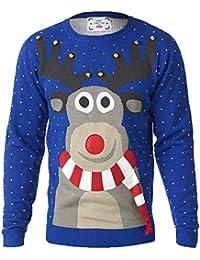 hommes noël tricot D555 3D Rudolph Jingle cloches Musique Grand King taille tricoté