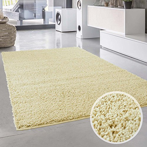 Shaggy-Teppich, Flauschiger Hochflor Wohn-Teppich, Einfarbig/Uni in Creme für Wohnzimmer, Schlafzimmmer, Kinderzimmer, Esszimmer, Größe: 150 x 150 cm Quadratisch
