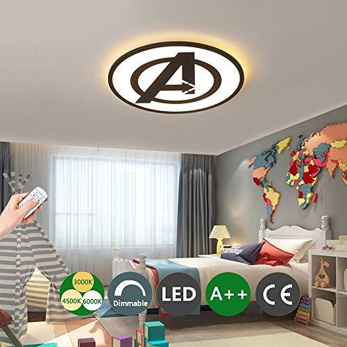 LED Deckenleuchte Captain America Decor Leuchte Mit Fernbedienung dimmbar Moderne Acryllampe Wohnzimmer Schlafzimmer Esszimmer Arbeitszimmer Junge Mädchen Kinderzimmer Lampe,BlackØ42CM -