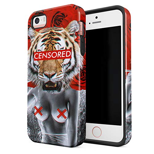 Cover Universe Hüllen für iPhone 5 / 5s / SE Hülle, Tiger Head Hot Wild Girl Censored Red Roses stoßfest, zweilagig mit Hardcase aus PC + Hülle aus TPU, hybride Case Handyhülle (Girl Hot Se)