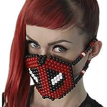 Mascara Kandi Quirurjica de Deadpool por Kandi Gear , mascara kandi, pulcera de rave, mascara para halloween, mascara con cuentas, mascara praa festivales musicales y fiestas