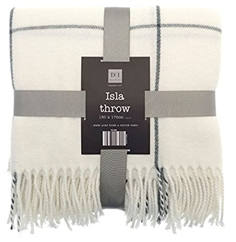 Country Club Checked Over Soft Bed Sofa Throw Blanket with Grey Fringe Tassels, Cream, 130 x 170 cm