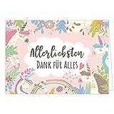 Große XXL Dankeskarte (Klappkarte) mit Umschlag/DIN A4 / Einhorn rosa/Dankeschön / Danke sagen/Danksagung / Bedanken