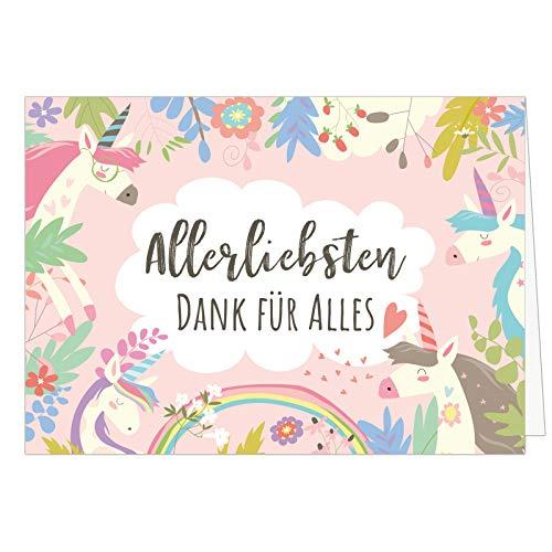 Große XXL Dankeskarte (Klappkarte) mit Umschlag/DIN A4 / Einhorn rosa/Dankeschön/Danke sagen/Danksagung/Bedanken