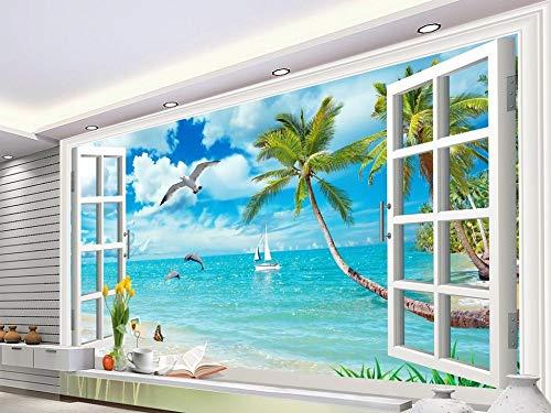 Hawaii Illusion (Gewohnheit Irgendeine Größe 3D Fenster Landschaft Kokospalme Meerblick Hawaii Hintergrund Wandaufkleber Ausgangsdekor Tapete Wandbild)