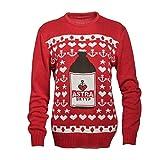 ASTRA Strick-Pullover, Weihnachts-Pulli, rot, mit Knollen-Motiv, Sterne und Anker, St. Pauli, für Männer und Frauen (S)