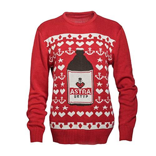ASTRA Strick-Pullover, Weihnachts-Pulli, rot, mit Knollen-Motiv, Sterne und Anker, St. Pauli, für Männer und Frauen (L)