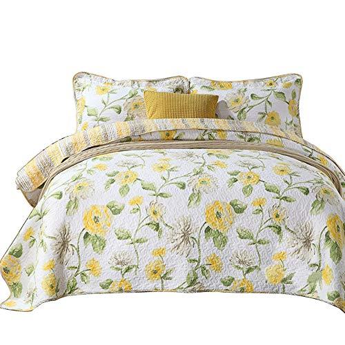 Bedding Time Baumwolle 3Stück Romantische Blumenkranz Gelb Muster Patchwork Tagesdecke Gesteppt Set, Queen Retro-chic Quilt