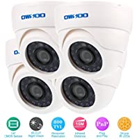 OWSOO 800TVL CCTV Kit di Sorveglianza di Sicurezza 4*Interno Telecamera + 4*60ft Cavo 3,6mm 24LEDs IR-CUT Visione Notturna Plug and Play Bianca
