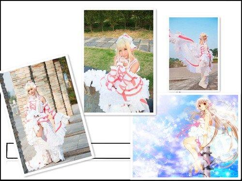 s Chii weiß rosa Lolita cosplay kostum,Maßgeschneiderte(Mailen Sie uns Ihre Größe),Größe XL: Höhe 170cm-180cm (Chobits Chii Kostüm)