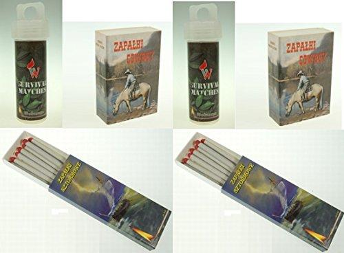6er Set Ingbertson® Sturmstreichhölzer Überallanzünder Anzünder für unterwegs (Cowboys Holzkohle)