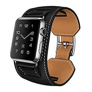 Apple Watch Band,Handmade Leather iWatch Band 38mm Replacement Strap,Adjustable Wristband Bracelet Accessories With Secure Buckle