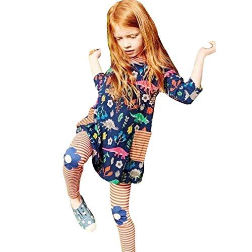 AMUSTER.DAN Mädchen Kinder Kleid Baumwolle gemischt Mädchen Nette Partei Blumenkleid (Kostüme Pailletten Prinzessin Blaue)