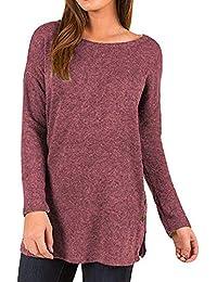 SOMESUN Donne Moda Caldo Colore Puro Taglia Grossa T-Shirt Sciolto Maglione  Pulsante Lato Manica Lunga Top Tunica 64a340a5146