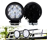 #8: SF High Quality 4 inch 9 LED 27Watt Round Fog Light with Flood Beam Auxiliary LED Lamp for Cars and Bikes