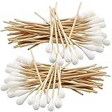 100x 15 cm Breiter Kopf - Watteträger, Kosmetex Wattestäbchen, Holzstab mit dickem Wattekopf, 100x Breiter Kopf