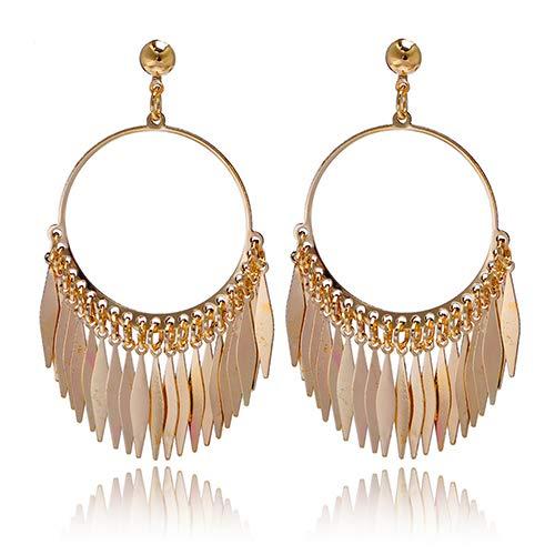 osmanthusFrag Frauen Böhmen Big Hoop Quasten Drop Dangle Golden Plated Ohrringe Halloween Hochzeit Schmuck Dekor