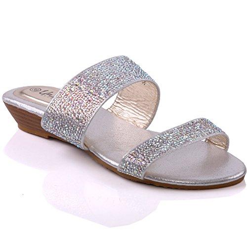 Unze Womens ' Ineza ' Shiny pantofole Argento