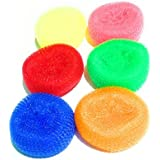 Plastic Scrubber Round (Set Of 6), Nylon Scrubbers For Teflon Pots And Pans Cleans Up Big Messes With Little Effort Safe For Non-Stick Cookware