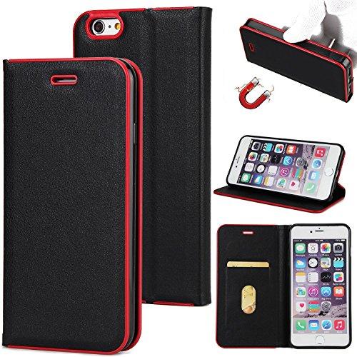 EKINHUI Case Cover Schöner eleganter magnetischer Verschluss PU-lederner schützender Abdeckungs-Fall mit Kickstand und Einbauschlitz für iPhone 6 Plus u. 6s Plus ( Color : Black ) Black