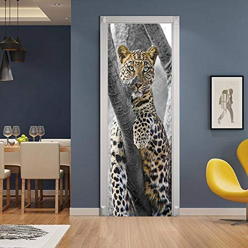 Kreative Und Umweltfreundliche 3D-Geld Leopard Türaufkleber Renovierte Selbstklebende Schlafzimmerwand Pvc-Aufkleber - Renovierte Leben