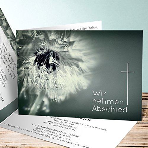 Einladungskarten Beerdigung, Abschied Löwenzahn 130 Karten, Horizontale Klappkarte 148x105 inkl. weiße Umschläge, Grün