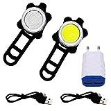 bizoerade Cyclisme Nuit Avertissement Feu arrière LED Lampe vélo Lampe frontale et arrière 2Câble USB, 350LM, 4modes de lumière, étanche IPX4