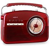 oneConcept NR-12 - Radio de cuisine AM/FM style américain 50's avec tuner analogique - rouge
