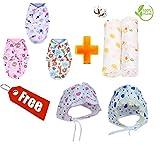 #6: PEUBUD ® Swaddle/Wrap /Sleeping Bag/Soft Envelope Adjustable +Organic Cotton Baby Muslin Cloth Swaddle/Blanket for NewbornBaby (0-6 Months)(Set of 1) + 2 Free Bonnets Baby caps
