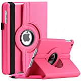 Aavjo, 360° Degree Swivel Rotating Multi Angle Stand PU Leather Screen Protective Smart Book Folio Flip Carry Back Case Cover For Apple IPad Mini, Mini 2, Mini 3 7.9 Inch (Model: A1432, A1454, A1455, A1489, A1601, A1490, A1491, A1599, A1600) (Hot Pink