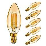Emotionlite E14 LED Lampe, LED Filament Glühlampen, 4W (40W Equivalent), E14 Kerzenleuchter Basis Amber Glow, 2200K, 6 Stück