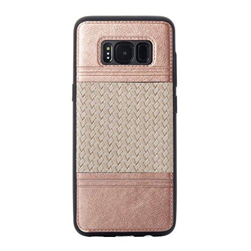 Cover Per Samsung Galaxy S8, Asnlove TPU Moda Morbida Custodia Linee Intrecciate Caso Elegante Ultra Sottile Cassa Braided Stile Tessere Case Bumper Per Samsung Galaxy S8 - Rosa Grigio