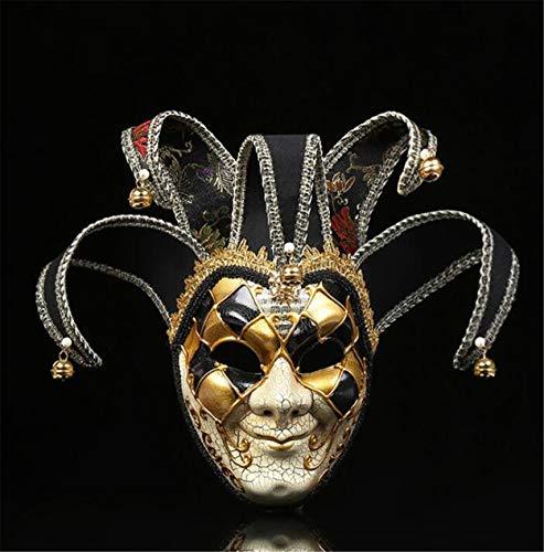 LPP Halloween-Maske, kreative Clown Dress Up Weihnachten Kostümparty, farbige Zeichnung, gehobene seltsame Wangenschleier Black