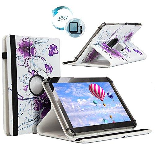 Tablet Tasche für Blaupunkt Discovery A10.302 10,1 Schutz Hülle Etui Case + Touch Pen - 10.1 Zoll Lila Blumen 360˚