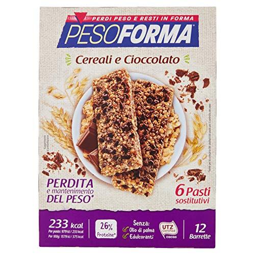 Pesoforma barrette cereali croccanti e cioccolato - pasto sostitutivo dimagrante solo 231 kcal - ricco in proteine - 6 pasti