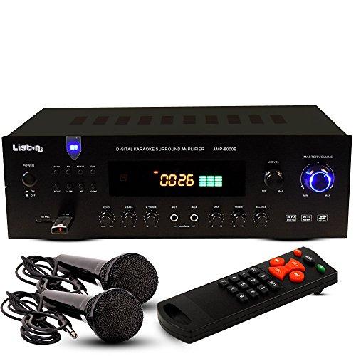 HiFi Verstärker Musik Receiver Bluetooth MP3 USB FM Radio Fernbedienung im Set inkl. 2 Mikrofonen