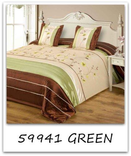 Tagesdecke mit Kissenbezüge Satin 240x260 2X 45x45 Glänzend Bettüberwurf (59941 Grün) - Tagesdecke Mit