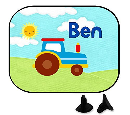wolga-kreativ Traktor Trekker Auto Junge mit Name Auto SonnenSchutz und SonnenBlende für Baby und Kind personalisiert Wunschname (1 St.)