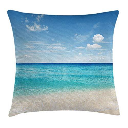 VTXWL Ocean Throw Pillow Cushion Cover, Tropical Carribean Sea Shore Sand Beach Blue Calm Serene Peaceful Waters, Decorative Square Accent Pillow Case, 18 X 18 Inches, Blue Aqua and White
