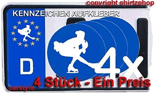Eiskunstlaufen Eislaufen Schlittschuhe NUMMERNSCHILD NUMMERNSCHILD Aufkleber Autoaufkleber 4er Set
