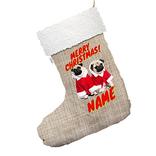 personalisierbar Santa Kostüm Möpse Großer hessischer Deluxe Weihnachtsstrumpf mit weißem (Deck Alle Kostüm Hände An)