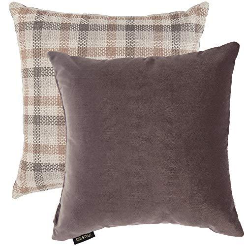 Odi Style Farmhouse Kissenbezug, dekorativ, quadratisch, mit Reißverschluss, rustikal, Boho-Stil, Couch/Schlafzimmer, Auto, zweiseitig, massives Samt, 45,7 x 45,7 cm 18x18 Inches Grey - Multi Color -