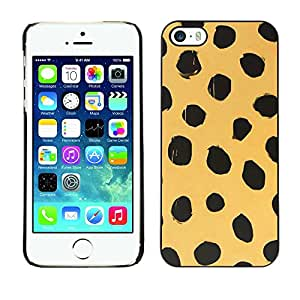 Omega Covers - Snap on Hard Back Case Cover Shell FOR Apple iPhone 5 / 5S - Beige Black Dots Animal Nature Fur