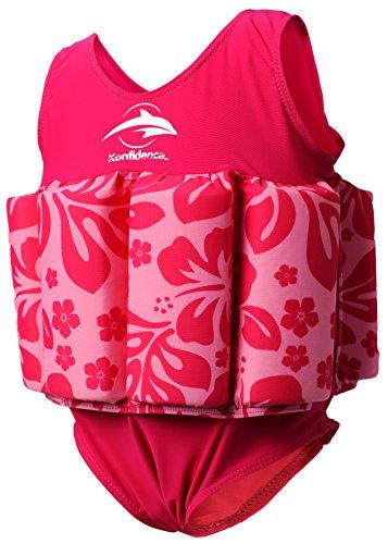 Konfidence Badeanzug mit Schwimmhilfe 5 Jahre Rosa - Pink Hibiscus Unisex Badeanzug