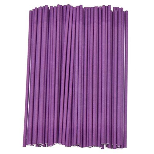 (Kesheng 100x Papier Lollipop Sticks Weiß Blau Pink Lila Rot Grün Gelb DIY Craft)