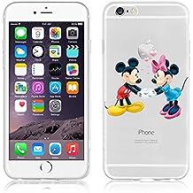 Carcasa flexible de poliuretano termoplástico transparente con dibujos de Disney para iPhone 6/6S y 6 plus/6plus S, plástico, Mickey y Minnie, APPLE IPHONE 6/6S