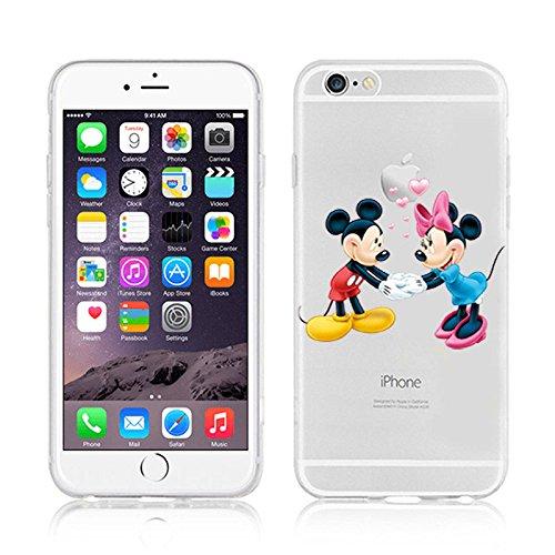 Ronney Support de Disney Cartoon Transparent Coque souple en TPU pour Apple iPhone 5/5S/5C/5Se MICKEY & MINNIE