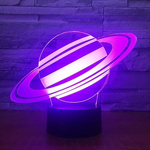 7 Farbwechsel Saturn 3D Illusion Nachtlicht Planet LED USB Tischlampe Kreative Schlafzimmer Dekorativ