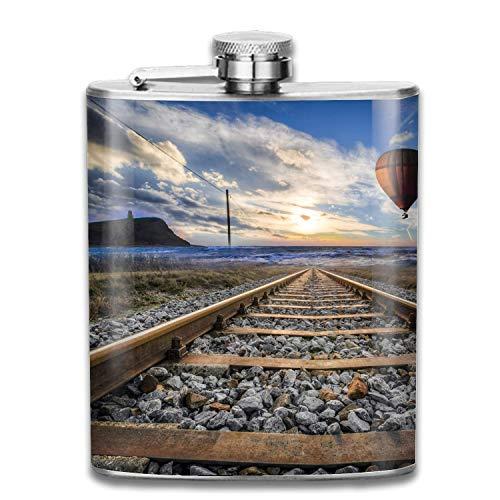 Funny Flaschen Hip Flask Set Plain Smooth Satin Polish Surface Track Railroad Pocket Flask for Liquor Smooth Shot Glas